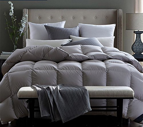 Natural Goose Down Bedroom Comforter Duvet Insert 100% Organic Cotton 800TC 850 Filling Power,Medium Warmth All Season,Gray by ROSE FEATHER (Image #5)