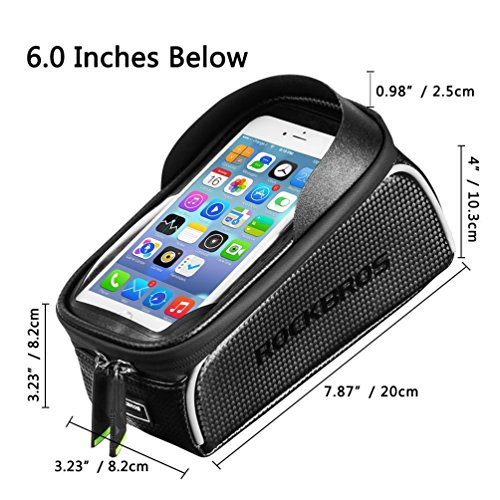 RockBros Bike Front Frame Bag Cycling Waterproof Top Tube Frame Pannier Mobile Phone Touch Screen Holder Bike Bag Fits Phones Below 6.0 Inches by ROCK BROS (Image #5)