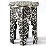 Bone Inlay Floral Small Table Handmade Home Restaurant Bar Inlay Furniture