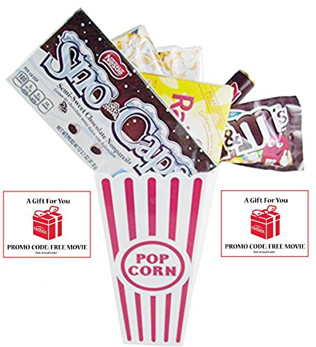 Movie Night Popcorn, Candy And Redbox Movie Gift Basket ~ Includes Movie Theater Butter Popcorn, Concession Stand Candy and a Gift Card for 2 Free Redbox Movie Rentals (Snow Caps)