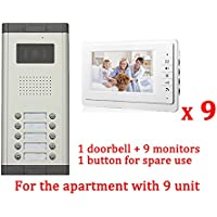 Apartment Wired 7 Inch Monitor Video Door Phone Audio Visual Intercom Entry Access System 9 Units