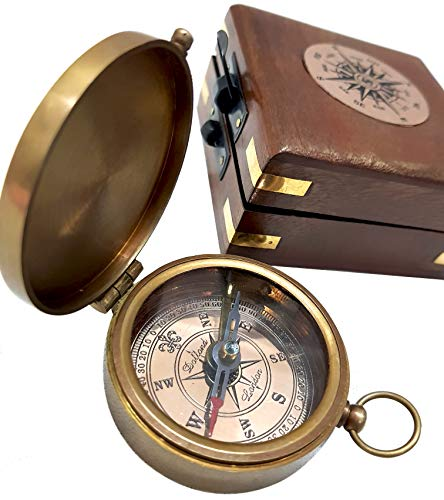 Antique Brass Compass Functional Direction Sailor Article Brown Wood Royal Box compasses - Engravable Bronze Antique