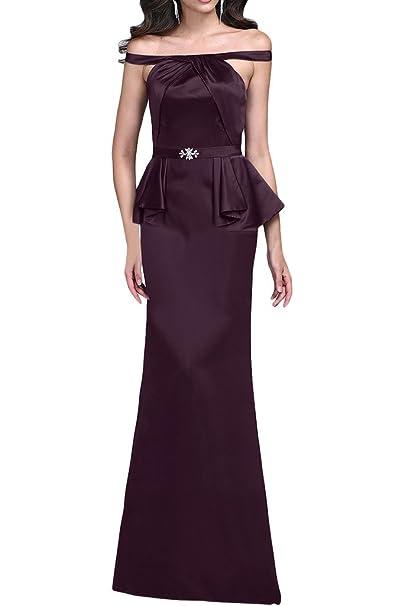 Gorgeous Novia apagado hombro largo satinado madre de la novia vestido de vestido de fiesta Slim