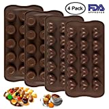 4 Pack Silicone Chocolate Candy Molds Trays, 15 Cavity, DanziX Baking Jelly Molds, Cake Decoration, with Cup and Heart shape - 2 Types