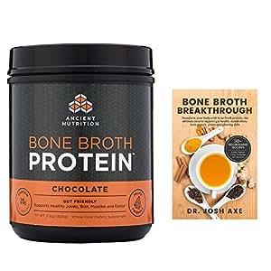 Ancient Nutrition - Bone Broth Protein Chocolate 17.8oz plus Broth Breakthrough Book Bundle-1ct