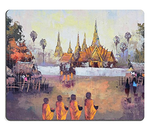 MSD Mousepad IMAGE 36026656 Original oil painting on canvas culture Thai monk ask for alms in Thailand (Monk Mouse Pad)