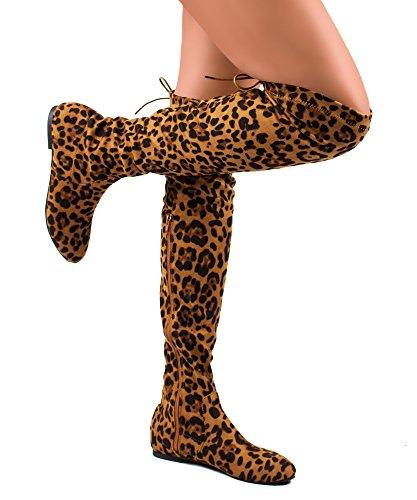 RF RAUM DER MODE Frauen Mode Bequeme Vegane Wildleder Seitlichem Reißverschluss Overknee Stiefel Leopard Su
