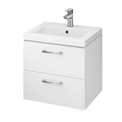 VBChome Badmöbel Waschbecken mit Unterschrank 50cm Waschtisch 2-Schubladen Weiß Lara