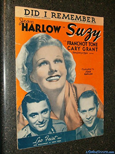 Did I Remember (Jean Harlow, Franchot Tone and Cary Grant on Cover, From