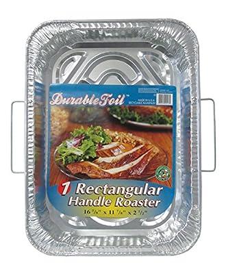 "Durable Foil Rectangular Handle Aluminum Roasting Pan, 18"" x 13-5/16"" x 2-5/8"" (Pack of 12)"