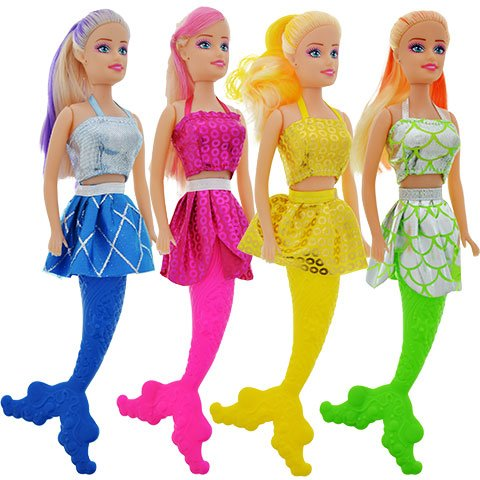 Homemade Mermaid Costume (American Pretty little Mermaid Fashion Dolls, 11 in. Color Coordinating Dress, Tail, and Hair Bundle of 4)