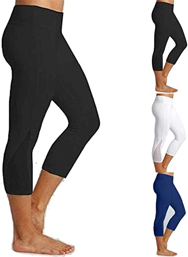 JGS1996 Womens High Waisted Yoga Capri Leggings Workout Leggings with Pockets Sport Pants for Fitness Gym