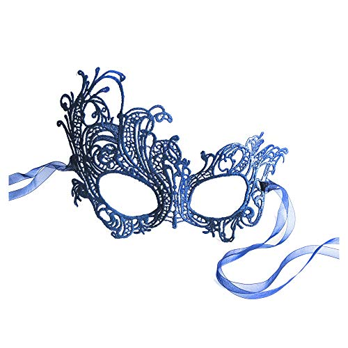 Lovely Blue Renaissance Lace Masquerade Mask by Samantha Peach