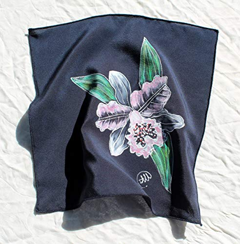 (Orchid Silk Pocket Square Women/Hand Painted Silk Pocket Square/Great as a pocket square or Silk/Handkerchief for Men or Women/Blue Handkerchief/Womens silk hankie,size 9.84/9.84 in.)