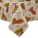 "Elrene Home Fashions Mantel otoñal, diseño de Hojas, Mantel (1), Ivory, 60"" x 102"" (Tablecloth), 1, 1"