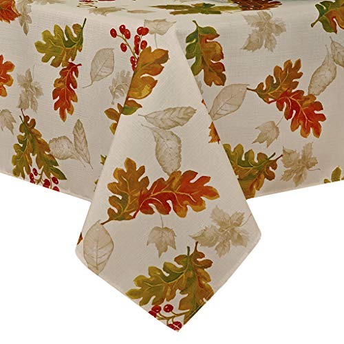 """Elrene Home Fashions Swaying Leaves Allover Print Fall Tablecloth, 52"""" x 52"""", Ivory"""