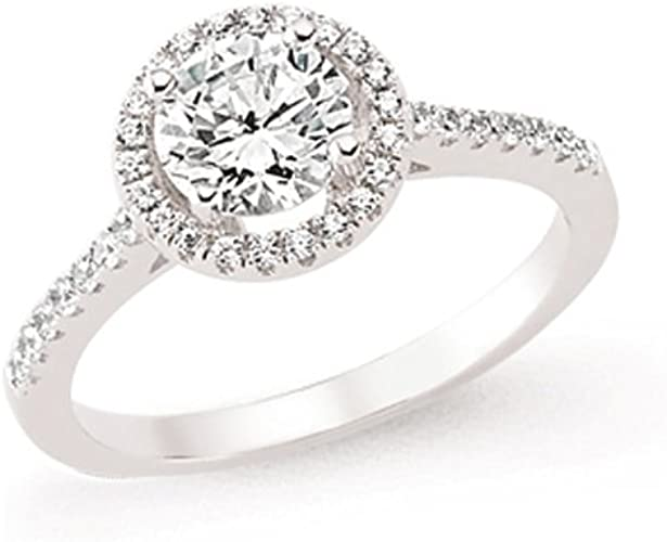 925 Sterling Silver 3mm Rhodium Plated Halo Solitaire CZ Bridal Ring Set Sizes UK L to Q
