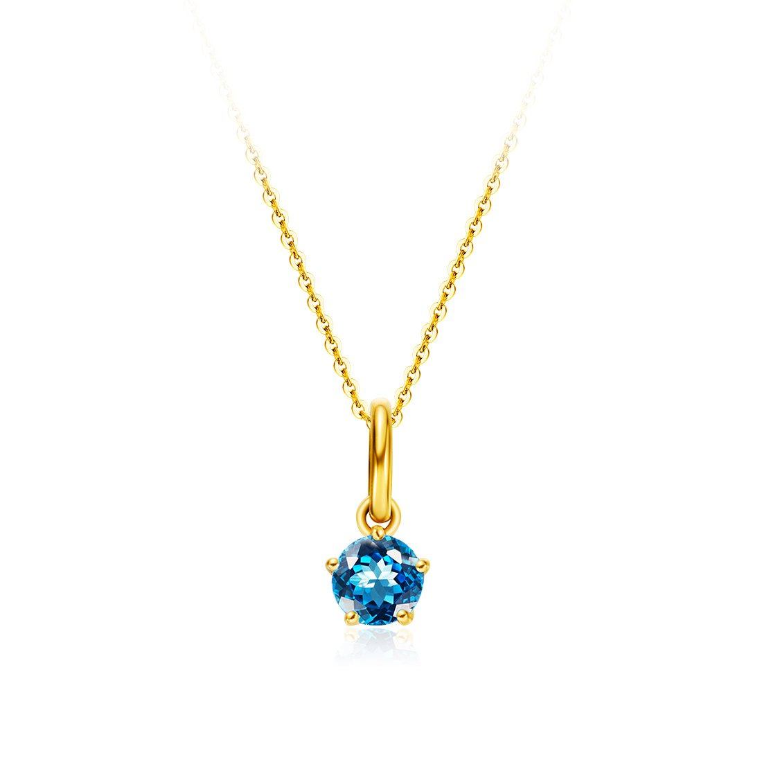 Carleen Solid 18K Yellow Gold Solitaire Genuine Gemstone Delicate Dainty Birthstone Necklace Pendant Fine Jewelry Birthday Gifts for Women Girls 18 inch