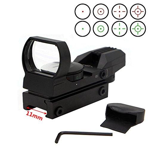 11 Reflex Sight - 1X22X33 Red Green Dot Gun Sight Scope Reflex Sight with 11mm Rail, 5 Brightness