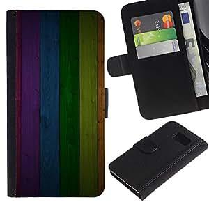 [Neutron-Star] Modelo colorido cuero de la carpeta del tirón del caso cubierta piel Holster Funda protecció Para Samsung Galaxy S6 [Modelo de la textura del panel del arco iris Líneas]