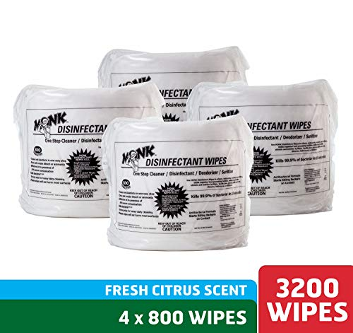 Monk Disinfecting Gym Wipes, One Step Cleaner, Disinfectant, Deodorizer and Sanitizer, 4 Refill Pack of 800 Count Wipes, Great for Fitness Equipment, Yoga Mats, Dance Studios, Spinning Classes & More from Monk Wipes