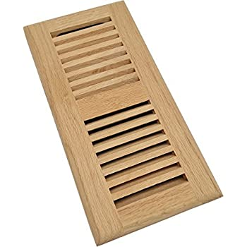 Homewell Red Oak Wood Floor Register, Drop in Vent with Damper, 4x10 Inch, Unfinished