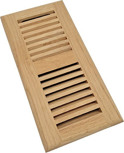 Homewell Red Oak Wood Floor Register, Drop in Vent with Damper, 4x10 Inch, Unfinished ()