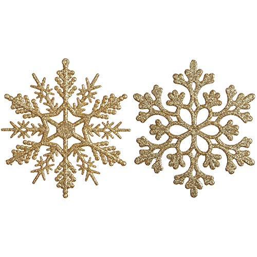 Sea Team Plastic Christmas Glitter Snowflake Ornaments Christmas Tree Decorations, 4-inch, Set of 36 (4