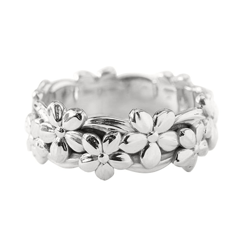 Wintefei Lucky Daisy Floral Flower Finger Ring Women Engagement Wedding Jewelry Gift - Silver US 7