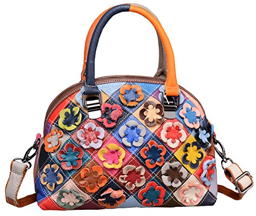 Heshe Hobo Organizer Multi-color Stitching Splicing Shoulder Cross Body Top Handle Bags Handbags for Women with Flowers Summer Style ()