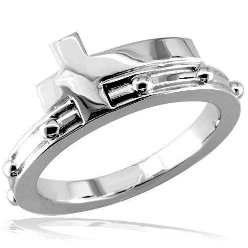 - Christian Cross Rosary Ring in 14K White Gold size 9