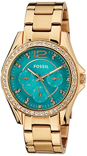 Fossil Womens ES3385 Riley Multifunction Rose Gold-Tone Stainless Steel Watch