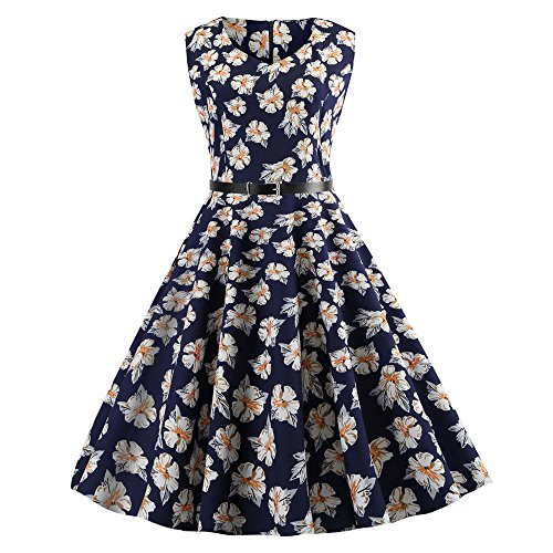Women Dresses Godathe Women Vintage Sleeveless V Neck Evening Printing Party Prom Swing Dress S-2XL ()