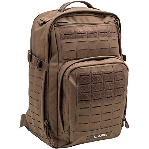 LA Police Gear Atlas 12H MOLLE Tactical Backpack for Hiking, Rucksack, Bug Out, or Hunting-Brown