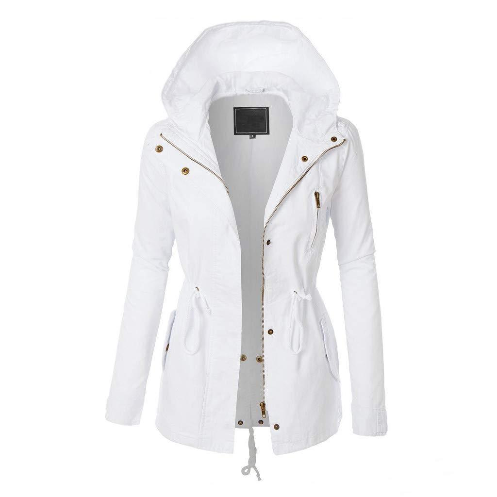 Alangbudu Women Zip Up Hoodie Coat Long Sleeve Sport Jacket Loose Fit Drawstring Waist Outwear Tops Sweatshirt w Pockets White
