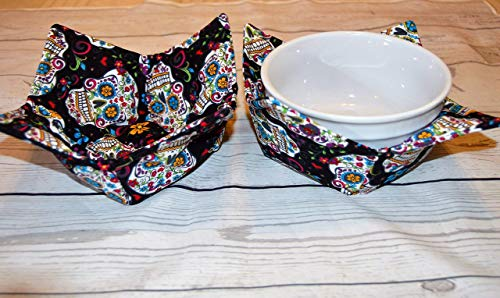 Sugar Skull Day of the Dead Set of Two Bowl Cozy -