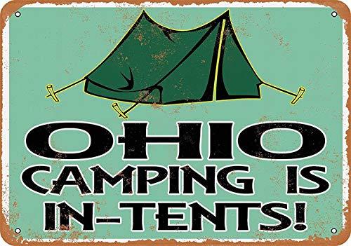 Fsdva Ohio Camping is in-Tents - Retro Wall Decor Home Decor 8 x 12 Metal Sign