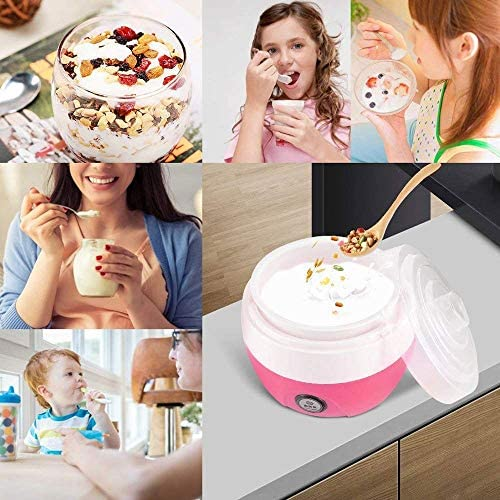 JISHIYU 1L maison Yaourtière automatique électrique yogourt crème faisant la machine outil yogourt (Rose)
