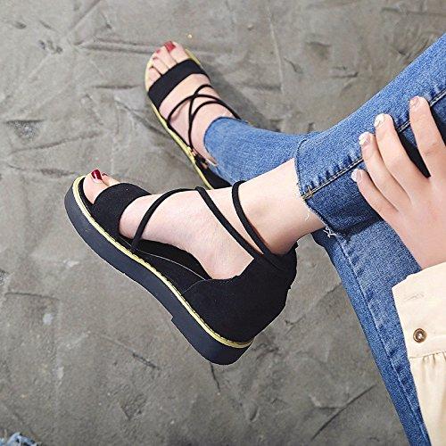 HBDLH Damen Schuhe Fashion Rom Sandalen flache Damen Sommer flache Sandalen Unterseiten Crotver Verbände 3 cm High Heels Joker Muffin Schuhe Slope Heels Dick Hose. f17f9e