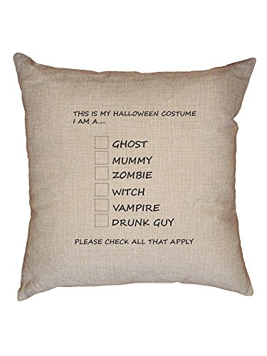Funny Halloween Costume Check List Decorative Linen Throw Cushion Pillow Case with Insert
