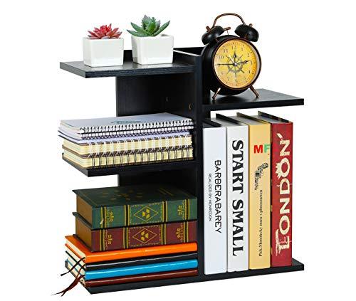 - PAG Wood Desktop Bookshelf Assembled Countertop Bookcase Literature Holder Accessories Display Rack Office Supplies Desk Organizer, Black