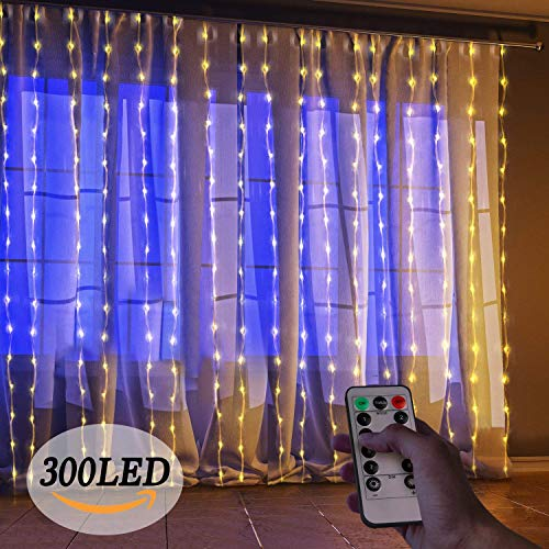 Starsolar LED Outdoor String Light, 300 Icicle Christmas Lights, 8 Modes Setting, Window Curtain Lights for Bedroom Home Wall Decorations Garden and Wedding Party (Warm White)