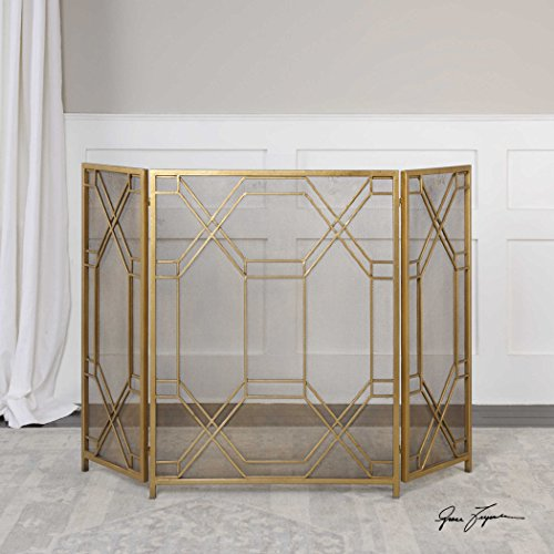 The Fireplace Screen Rosen Gold Fireplace Screen by Vhomes Lights