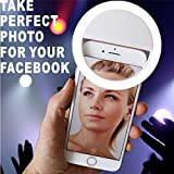 Clip on Selfie Ring Light [Rechargable Battery] with 36 LED For Smart Phone Camera Round Shape, White