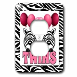 3dRose lsp_173047_6 Twins Girls Pink Zebras with Balloons Zebra Print Jungle Theme - 2 Plug Outlet Cover