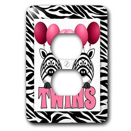 3dRose LSP 173047_ 6Twins Niñas, de color rosa con animales de la con globos estampado de cebra tema...