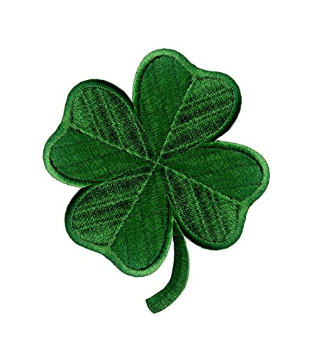 Irish 4-leaf Clover Dark Green Embroidered Emblem Lucky Shamrock Iron On Sew On Ireland Patch Leaf Embroidered Patch