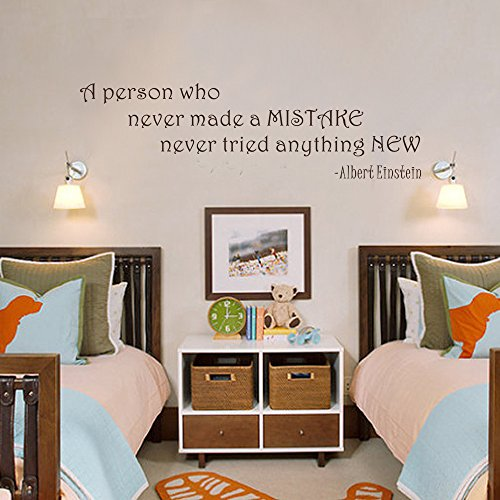 Albert Einstein Wall Decal - Never Tried Anything New Inspirational Wall Quote - Vinyl Wall Art Decal Stickers for Classrooms Offices Playroom(White, 13