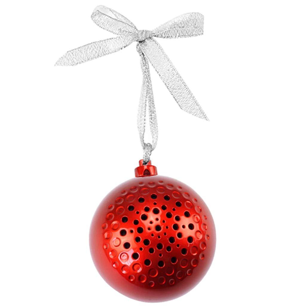 Baoblaze Bola de Navidad Altavoz Bluetooth Inalámbrico de Música Decoración - Rojo