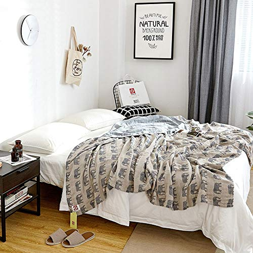 ZHAIZX Towel Blankets Cotton Elephant Pattern Single Double Gauze Towel nap Cover Leg air Conditioning Blankets Sheets (Color : Gray, Size : 59X78.7in)
